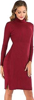 Enjoyoself Vestido a Punto Suéter Elegante para Mujer Suéter Cuello Alto para Mujer Pull-Over Tops Primavera Otoño Invierno