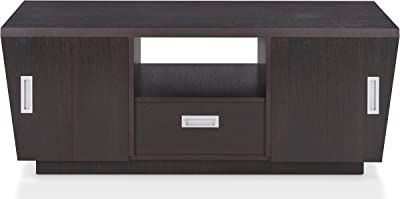 "Furniture of America Dellas Contemporary 1-Drawer Metal Glides Coffee Table with Open Top Shelf and 2 Side Cabinet, 47"", Espresso"