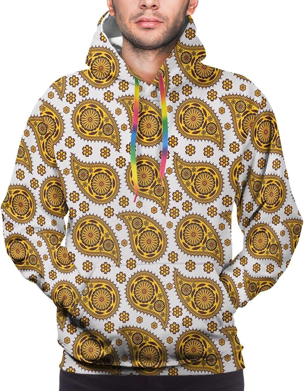 Men's Hoodies Sweatshirts,Bohemian Style Pattern with Open Hamsa Hands Ornate Asian Mandala Theme Art Boho Print