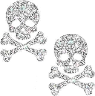 Frienda 2 Pieces Bling Skull Car Decals Skull Crystal Car Stickers Rhinestone Car Accessories Diamond Car Stickers Waterpr...