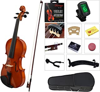 YMC Full Size 4/4 Violin Starter Kit with Hard Case,Bow,Rosin,Extra Strings,Shoulder Rest,Mute,Electronic Tuner,Pinky Hold...