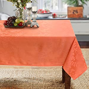 Solid Color Spring Garden with Butterflies and Flowers Jacquard Woven Tablecloth (60