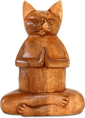 """G6 COLLECTION 8"""" Wooden Hand Carved Siamese Cat Yoga Pose Statue Sculpture Handcrafted Art Decoration Home Decor Accent D"""