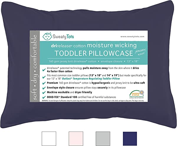 Moisture Wicking Toddler Pillowcase For Sweaty Sleepers Fits 13 X 18 And 14 X 19 Pillows Envelope Style Pillow Cover Features Patented Drirelease R Moisture Wicking Technology Navy Blue