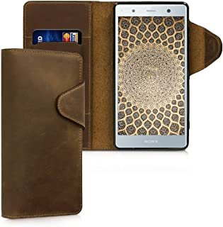 kalibri Wallet Case for Sony Xperia XZ2 Premium - Genuine Leather Book Style Protective Cover with Card Slot - Brown