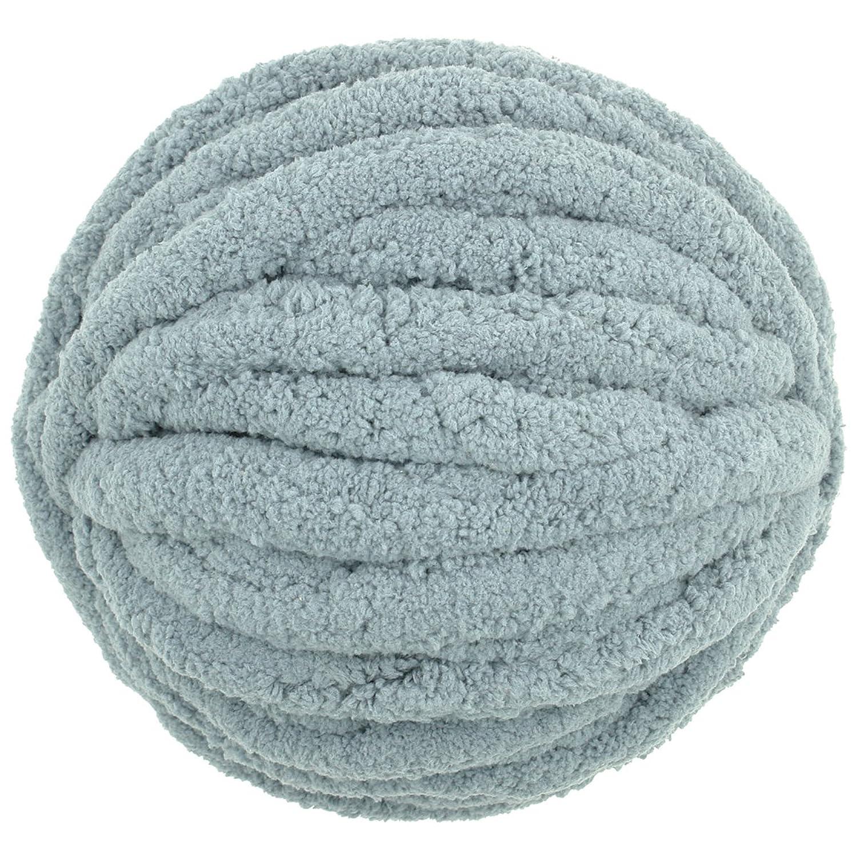 Charmkey Baby Blanket Yarn DIY Chenille Yarn Chunky Wool Yarn,for Crochet, Knitting & Crafting,250 g/ 8.82 Oz (Light Grey)