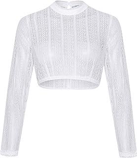 Schöneberger Trachten Couture Damen Dirndlbluse Langarm aus Spitze weiß, Teil-transparent und hochgeschlossen - Dirndl Bluse Johanna
