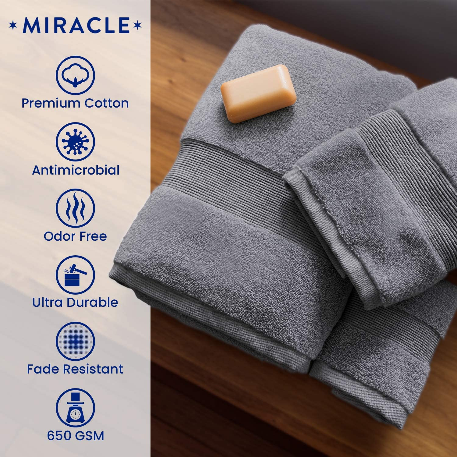 Miracle Made Bath Towel - Premium Bath Towel Infused with Natural Silver, Prevents 99.9% of Bacterial Growth - 100% Supima Cotto