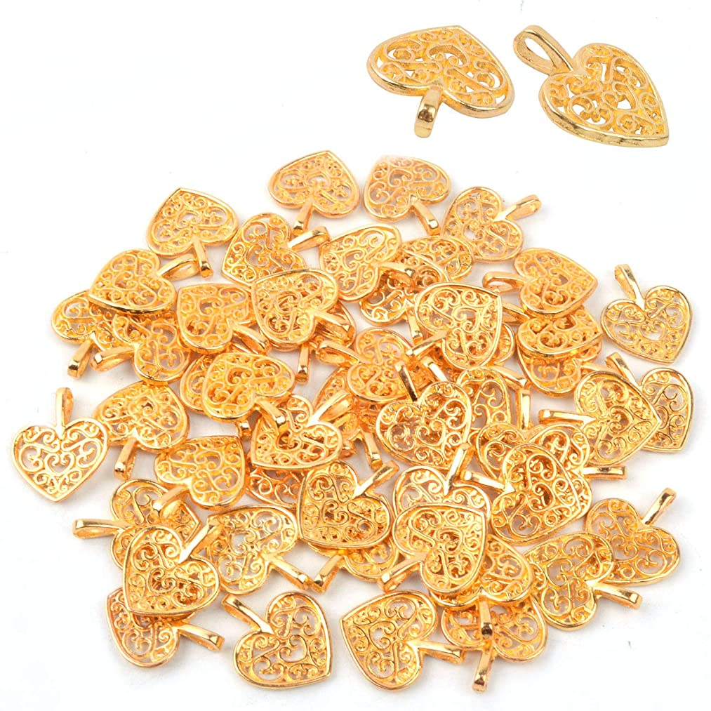 Bonayuanda Pack of 50 Gold Beads DIY Heart Charms Pendants Bracelet Necklace Jewelry Making Accessory