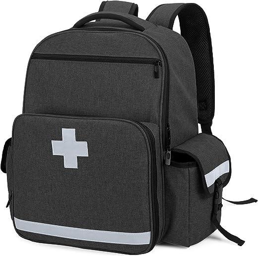 CURMIO Emergency Medical Backpack Empty, First Responder EMT Bag for EMS, Camping, Hiking, Home Health, Field Trips, Black (Bag Only, Patented Design)