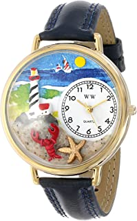 Whimsical Watches Unisex G1210013 Lighthouse Navy Blue Leather Watch