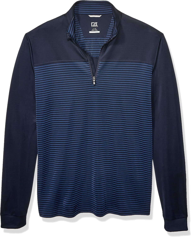 Cutter & Buck Men's Drytec UPF 50+ Double Knit Traverse Stripe Half Zip Pullover