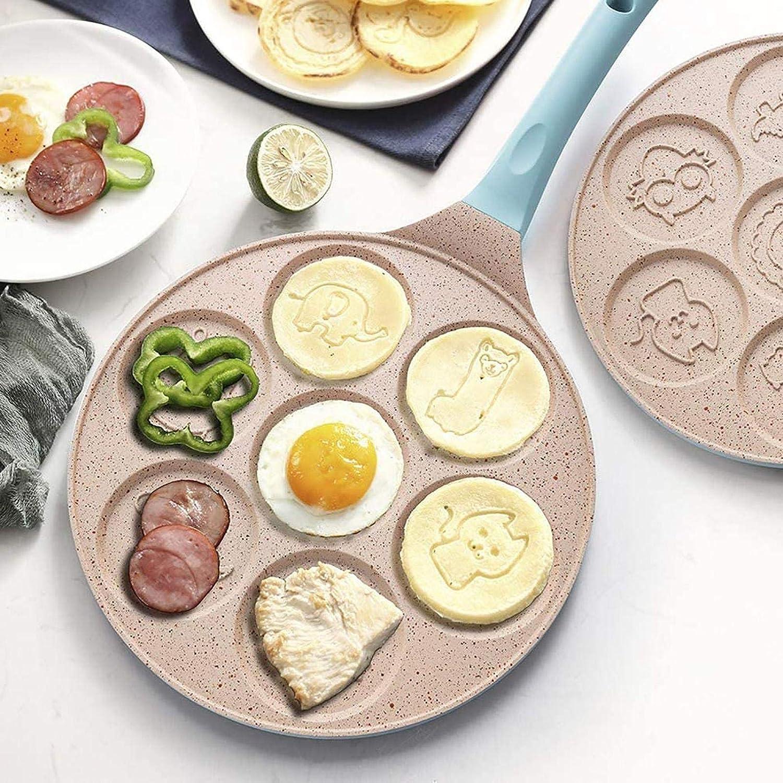 BeneU Poêle à crêpes anti-adhésive pour œufs au plat - 7 œufs au plat Bleu
