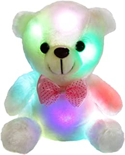 Bstaofy WEWILL Glow White Teddy Bear Stuffed Animal LED Colorful Night Light Plush Toy Soft Floppy Gift for Kids on Birthday Christmas Festivals, 8-Inch