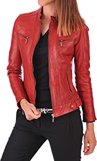 DOLLY LAMB Women's Lambskin Leather Moto Biker Jacket - Winter Wear - Deep Neck