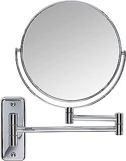 Jerdon JP7808C Espelho de maquiagem para montagem na parede de 20 cm com ampliação de 8 vezes, acabamento cromado