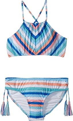 Seafolly Kids - Moonchild Stripe Ruched Neck Tankini Set (Big Kids)