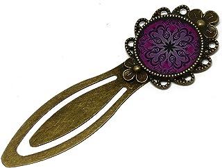 Segnalibri libro retrò resina Mandalas rosa ottone nero 20mm regali personalizzati regalo di Natale amici compleanno cerim...