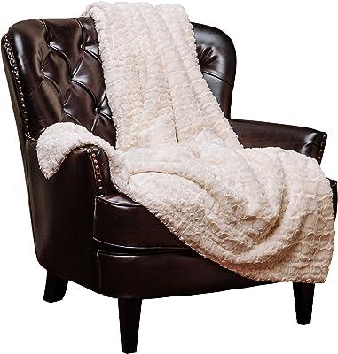 "Chanasya Super Soft Warm Elegant Cozy Fuzzy Fur Fluffy Faux Fur with Sherpa Stone Embossed Pattern Ivory Creme Microfiber Throw Blanket (50"" x 65"") -Ivory White"