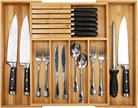 """Bamboo Silverware Drawer Organizer Kitchen, Expandable Utensil Holder and Cutlery Tray with Divider 