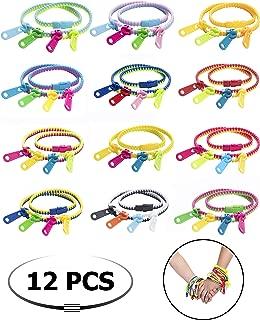 UpBrands 12 Pack Fidget Zipper Double Tour Bracelets 15.5 Inches Super Long Zipper Bracelets Sensory Toys Bulk Set Neon Colors, Kit for Birthday Party Favors for Kids, Easter Egg Basket, Pinata Filler