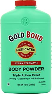 Gold Bond Medicated Extra Strength Powder, 10 Ounce Containers (Pack of 3), Helps Soothe and Relieve Skin Irritations and Itching, Cools, Absorbs Moisture, Deodorizes, Stronger than Gold Bond Original