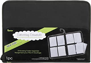 "Darice Embossing Folder Organizer – Holds 40, 5""x7"" Folders – High Quality Black Nylon Zippered Case with 40 Storage Pockets – Keep Embossing Folders Neat, Organized and Protected, 16.75""x11.75""x1.75"""