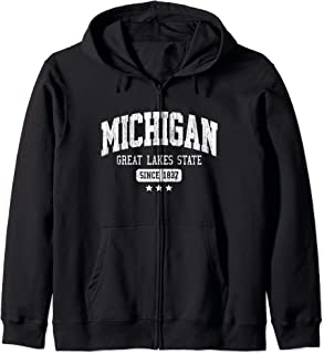 Vintage Michigan Great Lakes State Athletic White Rough Text Zip Hoodie