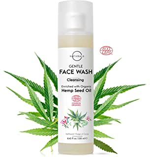 O Naturals Organic Aloe Vera Gel with Hemp Oil Wash Face Hands Daily Protection Hydrate Skin Eliminate Impurities Deep Cle...