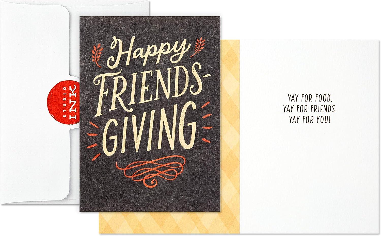 6 Cards with Envelopes Hallmark Studio Ink Thanksgiving or Friendsgiving Card Assortment