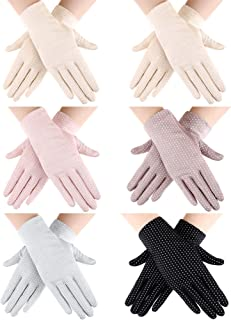 6 Pairs Women Summer UV Protection Gloves Touchscreen Driving Gloves Non-Slip Sun Protective Gloves
