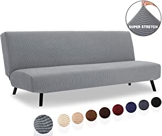TIANSHU Armless Sofa Cover, Stretch Sofa Bed Cover , Anti-Slip Protector for Couch Without Armrests, Spandex Jacquard Fabric Slipcover Futon Cover (Futon, Light Gray)