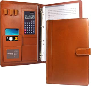 KUAO Conférencier A4 en cuir marron avec anneaux - Porte-documents - Organiseur - Porte-bloc - Espace de rangement - Desig...