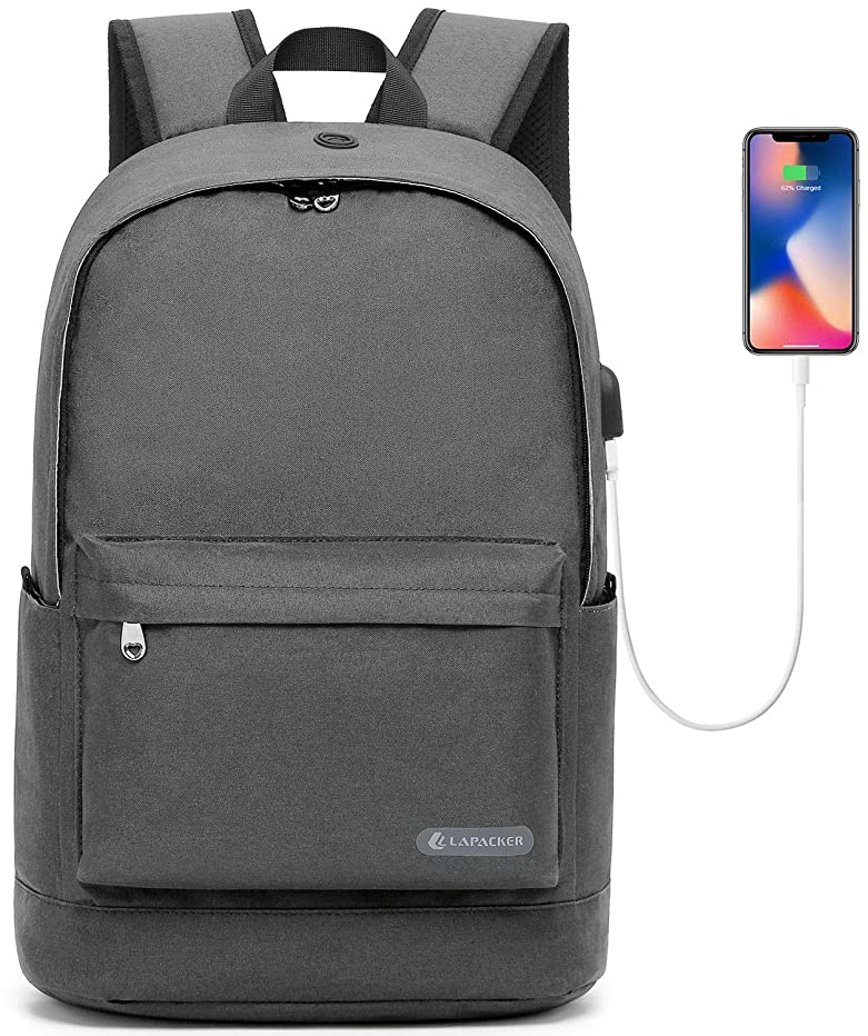 KUPRINE Slim Laptop Backpack 15.6-17 Inch Lightweight College School Computer Backpacks Anti Theft Casual Daypack Canvas Bag with USB Charging Port for Travel/Business/Women/Men- Grey