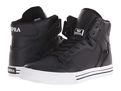 Supra Vaider (Black/White/Leather) Skate Shoes