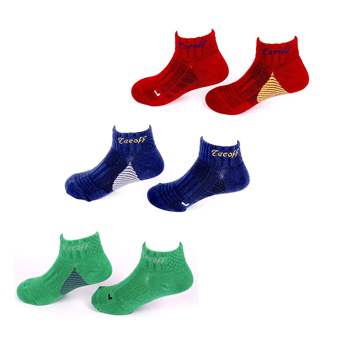 ハムシャーロットブロンテ交流するTeeoff Boys' 3 Pack Low Cut Ankle Athletic Socks ボーイズ3パックローカット?アンクル?アスレチックソックス