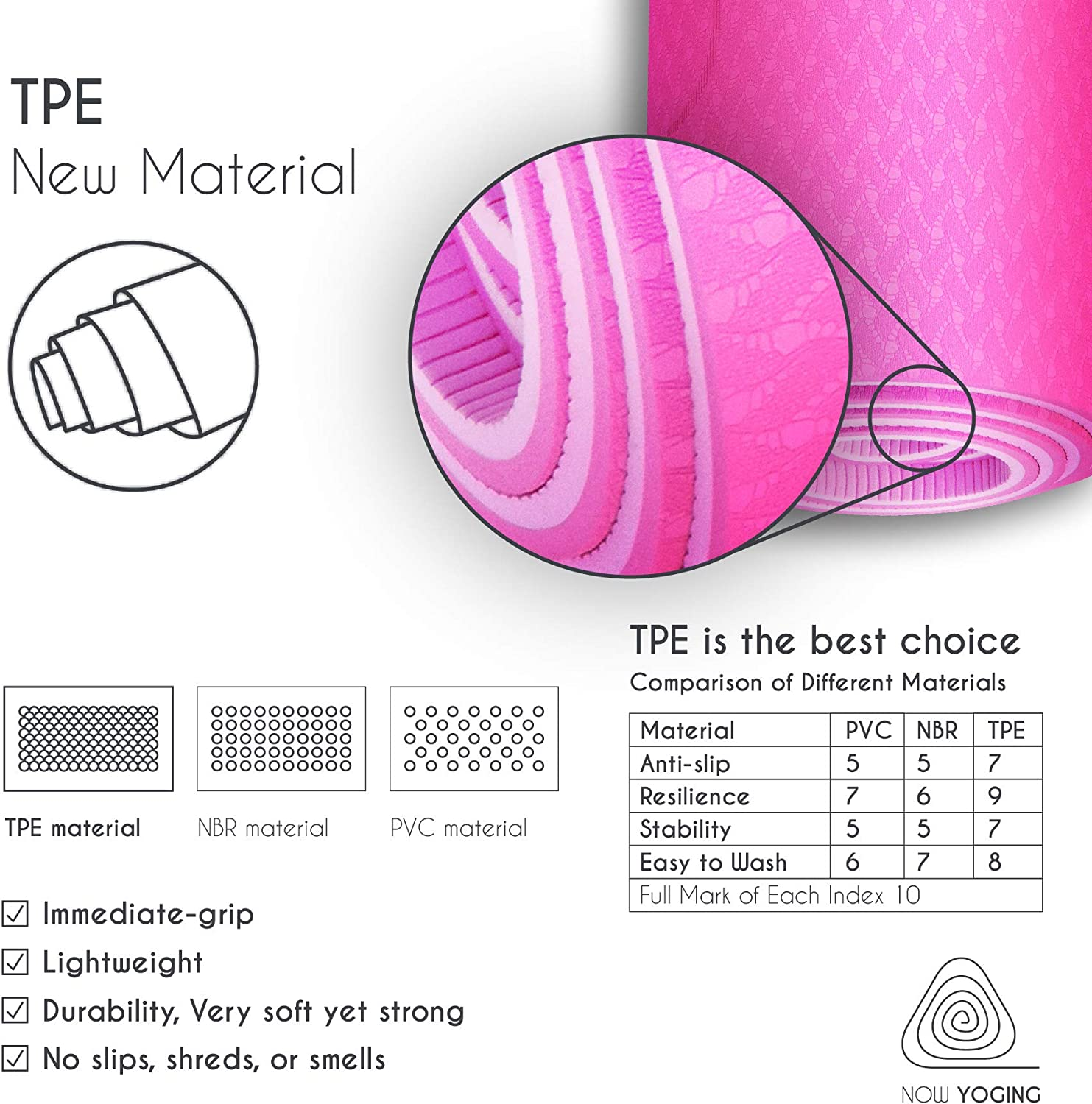 Non Slip TPE surface for Women /& Men for Pilates Home Exercise Fitness Free Carrying Strap Unbeatable 8mm Thickness Yoga Mat with Alignment lines