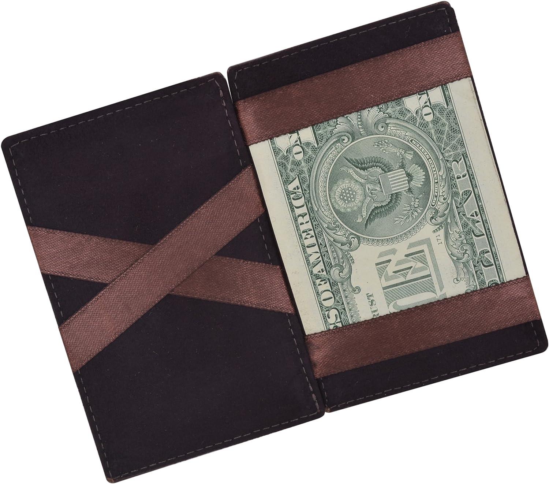 Moga Men's Fashion Magic Money Clip Genuine Leather Minimalistic Slim Wallet