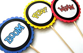Superhero Phrase Centerpiece Sticks - Set of 6