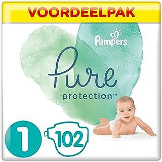 Pampers Pure Protection Maat 1, 102 Luiers, 2-5kg, Gemaakt Van Materialen Met Hoogwaardig Katoen En Plantaardige Vezels