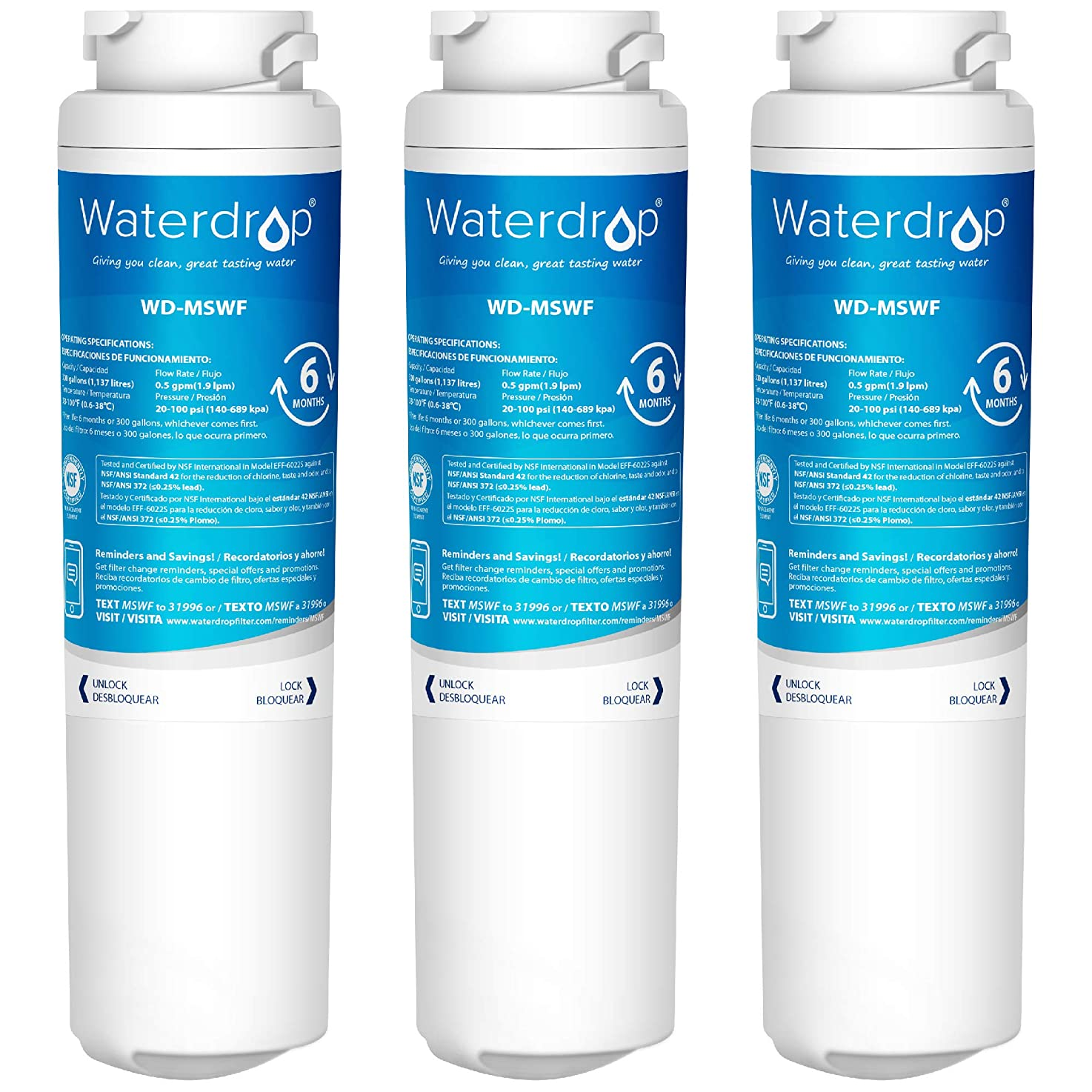 Waterdrop Refrigerator Water Filter, Compatible with GE MSWF, 101820A, 101821B, 101821-B, Standard, Pack of 3