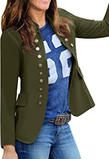 GRAPENT Women's Business Casual Buttons Pockets Open Front Blazer Suit Cardigan