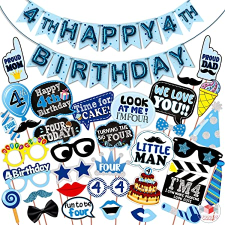WOBBOX Fourth Birthday Photo Booth Party Props Blue for Baby Boy with 4th Birthday Bunting Banner for Baby Boy in Blue, 4th Birthday Decorations for Boys, Kids Birthday Party Decoration Items