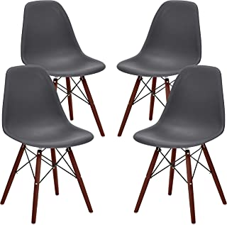 Phoenix Home Kenitra Contemporary Plastic Dining Chair, Earthy Gray, Set of 4