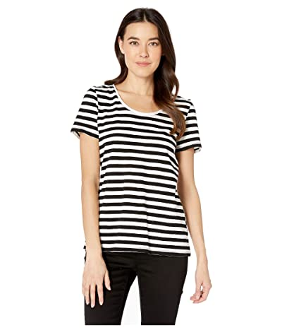 Vince Camuto Short Sleeve Amour City Stripe Scoop Neck Tee (Rich Black) Women