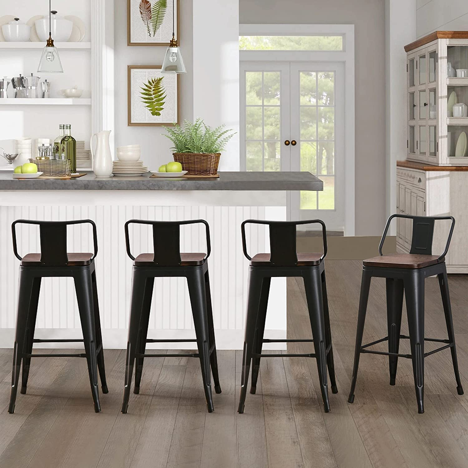Andeworld Metal Bar Stools Set of 9 Kitchen Counter Stools Bristro  Barstools Industrial Bar Stools 9 Inch, Black with Wooden Seats