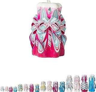 Ner Mitzvah Handmade Carved Havdalah Candle - Self Standing, Hand Crafted - Shabbat Host, Hostess and Judaica Gift - Dark Pink Twist Tie - 4