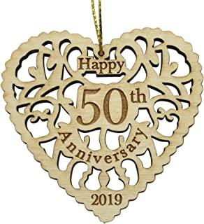 Twisted Anchor Trading Co 50th Anniversary Ornament 2019 - Heart Shaped Happy Anniversary Ornament - 50th Beautiful Laser Cut Wood Detail - Comes in a Pretty Organza Gift Bag so it's Ready to give