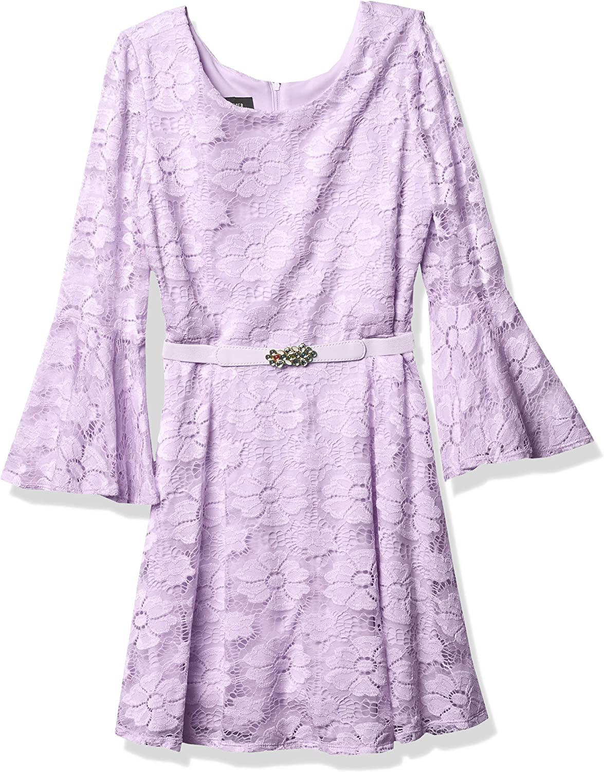 Free shipping Amy Byer Girls' Belted Allover Dedication Bellsleeve Lace Dress