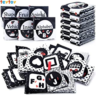 teytoy My First Soft Book, Nontoxic Fabric Baby Cloth Activity Crinkle Soft Black and White Books for Infants Boys and Gir...